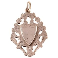 Edwardian Sterling Silver Shield Charm Watch Fob - English, 1905