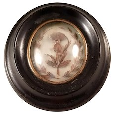 Antique French Napoleon III Hair Work Mourning Piece under Glass - Petite Beauty