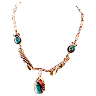 Fantastic Justin Morris Navajo Sterling Silver Turquoise Coral Necklace - signed