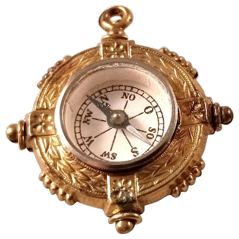 Interesting Edwardian Era Watch Fob - Compass with Horse motif