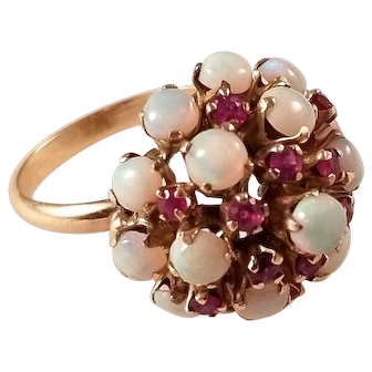Gorgeous Vintage 18kt Opal and Ruby Cocktail Ring Size 7