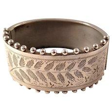 Beautiful Victorian Aesthetic Sterling Silver Bangle Bracelet - Fern Motif