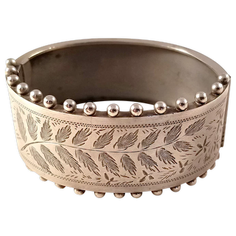 Beautiful Victorian Aesthetic Sterling Silver Bangle Bracelet - Fern Motif