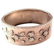 Victorian Sterling Silver Bangle Bracelet - Rose Motif - Chester, 1886