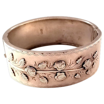 Victorian Sterling Silver Bangle Bracelet - Rose Motif - Chester, 1886