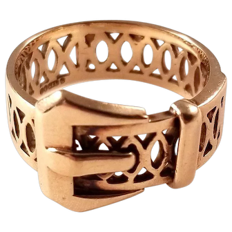 Lovely 9 Carat Gold Vintage Buckle Ring with Filigree Band