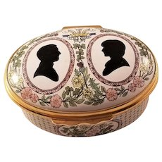 Halcyon Days Enamel Box - Royalty Commemorative - Charles and Diana