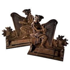 Pair of Gorgeous Bronze Bookends - Grecian Lady with Harp 1922