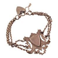 Wonderful Sterling Silver Shield Bracelet - mixture of Antique and Vintage