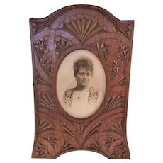 Handsome English Victorian Carved Wooden Photo Frame