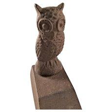 Cute Vintage Cast Iron Door Stop - Hoot Owl