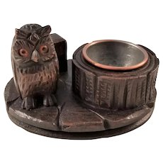 Charming Black Forest Owl Smoking Set - ca 1910