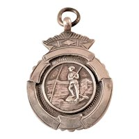 Vintage Sterling Silver Fob Charm - Fishing Award 1948