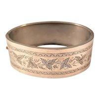 Antique Sterling Silver Victorian Bangle Bracelet - Foliate Design