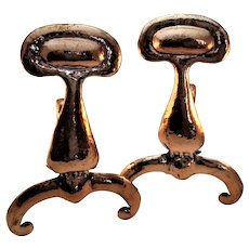 Lovely Pair of Hand Wrought Copper Arts and Crafts Andirons