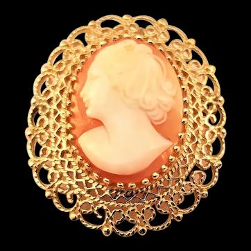 Vintage Carved Cameo Brooch w/filigree Border - 14kt Gold