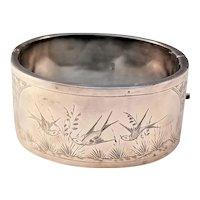 Antique Aesthetic Sterling Silver Victorian Bangle Bracelet - 1893