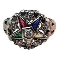 Vintage 10kt White Gold Eastern Star Ring set with Diamonds