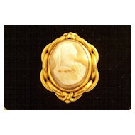 Antique Victorian Grand Tour Carved Cameo Brooch - lovely!