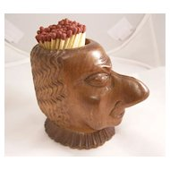 Fantastic Victorian Black Forest Carved Match holder - Man with Large Nose - English