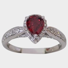 VIVID Red Pear Cut Natural Ruby and Diamond Ring