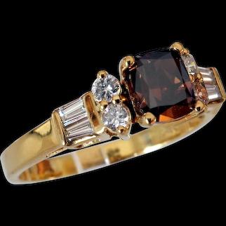 Wonderful Fancy Orangy-Brown Cognac Diamond Ring