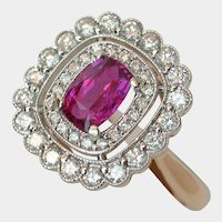 Brilliant Neon Pink-Red Unheated Ruby & Diamond Ring