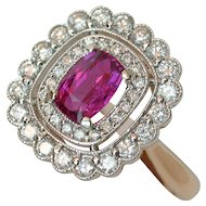 MEMORIAL DAY SALE - SAVE $600! Radiant Neon Pink-Red Unheated Ruby & Diamond Ring