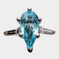 Beaming 1.05ct Copper-Bearing PARAIBA Tourmaline and Diamond Ring