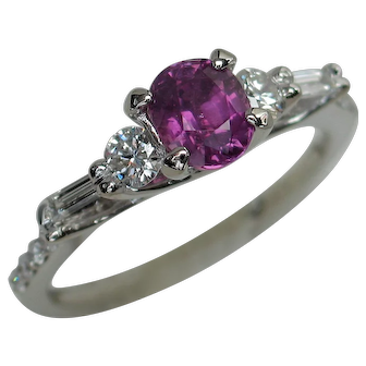 Candy Purple Unheated Sapphire & Diamond Ring
