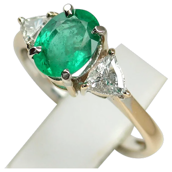 Glowing Vintage Natural Emerald & Diamond Ring