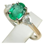 MEMORIAL DAY SALE - SAVE $600! Glowing Vintage Natural Emerald & Diamond Ring