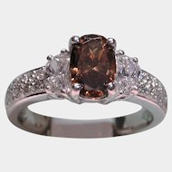 Magnificent 2.11ct Fancy Orangy-Brown Diamond Engagement Ring