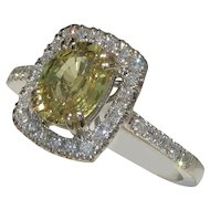 Radiant Unheated Yellow Sapphire & Diamond Ring