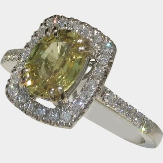Radiant Unheated Yellow Sapphire & Diamond Ring
