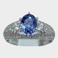 Glorious 1.56ct Blue Sapphire & Diamond Ring