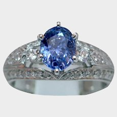 Glorious 1.56ct Blue Sapphire & Diamond Ring