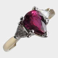 Gorgeous 1.56ct UNHEATED Ruby and Diamond Ring