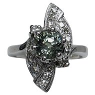 Scintillating Vintage Natural Green Sapphire & Diamond Ring
