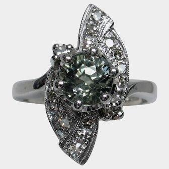 Scintillating Vintage Natural Green Sapphire & Diamond Ring