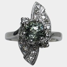 Scintillating Vintage Unheated Green Sapphire & Diamond Ring