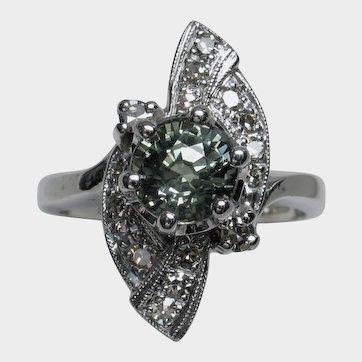 Scintillating Vintage Unheated Green Sapphire & Diamond Ring