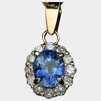 Brilliant Blue Sapphire & Diamond Pendant
