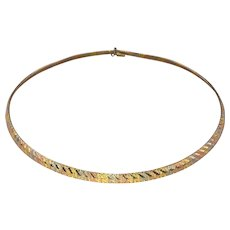 Heavy 34g Solid 18kt Three-tone Gold OMEGA Chain Necklace