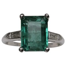 1950's Platinum Emerald & Diamond Cocktail Ring