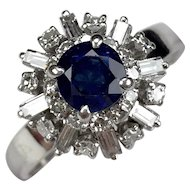 CLEARANCE! Delightful 1960's Sapphire & Diamond Ballerina Cocktail Ring