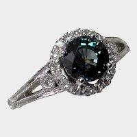 Dazzling 14kt Greenish Blue Sapphire & Diamond Ring