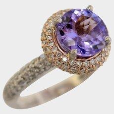Scintillating PT900 18kt Tanzanite & Diamond Ring