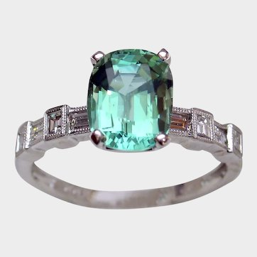 STUNNING Copper-Bearing Blue-Green Tourmaline & Diamond Ring