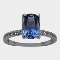 Feminine 2.61ct GIA Unheated Sapphire & Diamond Ring